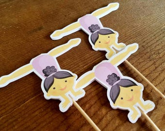 Gymnastics Girls Party - Set of 12 Brunette Gymnast Girl Cupcake Toppers by The Birthday House