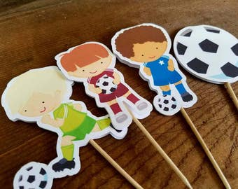 Soccer Party - Set of 12 Soccer Friends Double Sided Assorted Boys Cupcake Toppers by The Birthday House