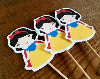 Snow White Party - Set of 12 Snow White Cupcake Toppers by The Birthday House