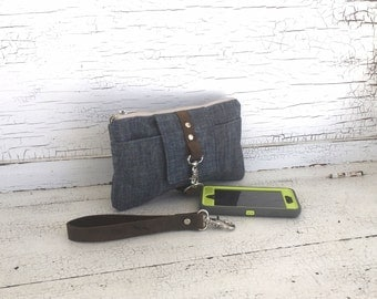 Navy  Waxed Canvas & Brown Leather Smartphone Wallet, Wristlet, Clutch, Organizer, iPhone 6 Plus Wallet