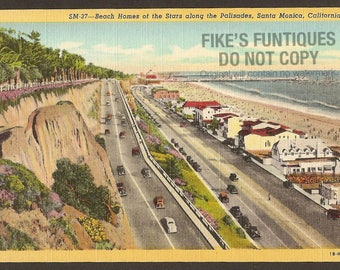 Santa Monica, California Vintage Linen Postcard - Beach Homes of the Stars along the Palisades (Unused)