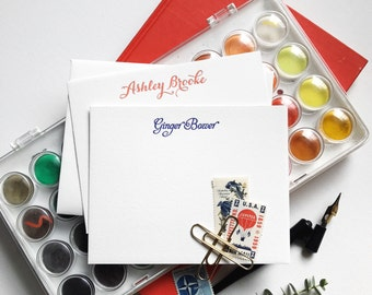 Custom Letterpress Stationery Set, Flat Note Cards, Custom Color