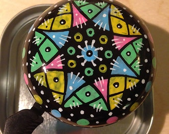 Pastel Pattern - hand painted bicycle bell, one of a kind Art for Your Bike!