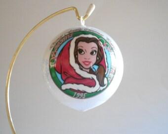 Belle Christmas Ball Christmas Ornament Vintage 1995 Disney Seasons Greetings White Satin Ball Original Box Printed Plastic Unbreakable Ball