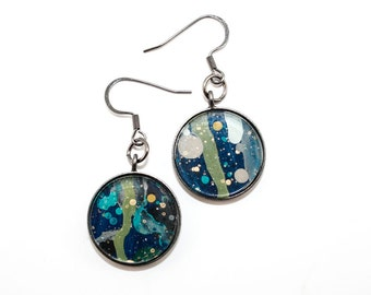 Abstract Art Drip Painting - Dangle Earrings - Painted Acrylic in Round Gunmetal Setting - Navy Blue, Turquoise, Green (Original Painting)