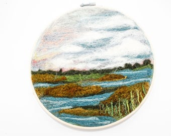 Needle Felted Landscape - Embroidery Hoop Fiber Art - Lowcountry Marshland