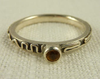 Size 8.25 Vintage Sterling Citrine Stacking Ring