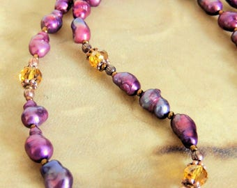 Freshwater Pearl Necklace, Purple and Amber, Handcrafted Jewelry, Boho Jewelry, Rustic Jewelry