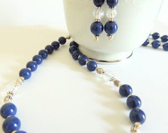 Pearl Jewelry Gift Set, Lapis Pearl Gift Set, Pearl and Earring Gift Set, Handcrafted Jewelry, Wedding Jewelry