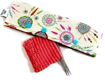 Stitch Holder Point Protector Zipper Pouch Needle Nook - DPN and Circular Project Holder -  Dreamcatcher