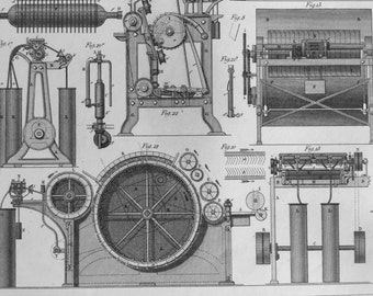 Antique Print of the Cotton Gin and other Machinery - 1852 Vintage Print - Plate 17