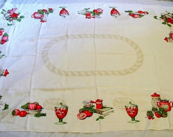 Vintage Tablecloth, large tablecloth, vintage kitchen, tablecloth with Fruit, White tablecloth, shabby chic, old tablecloth, country Cottage