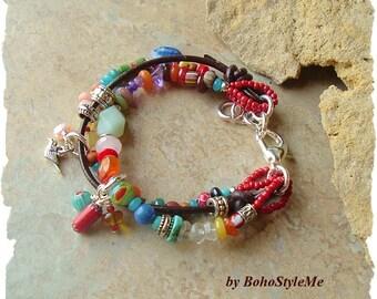 Boho Multiple Strand Bracelet, Free Spirit Gemstone and Leather Handmade Artisan Bracelet, BohoStyleMe, Kaye Kraus