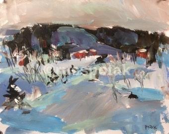 Winter Landscape , original impressionist art, snow winter scene, acrylic painting, Russ Potak