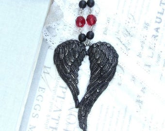 Gothic Pendant Necklace Back Wing Necklace Black Gothic Necklace Large Wing Necklace Black Victorian Necklace