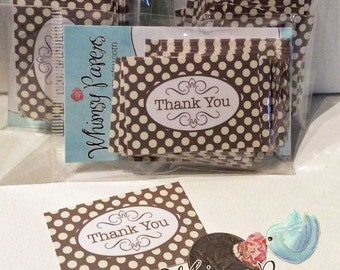 Polka Dot Thank You Stickers - set of 50