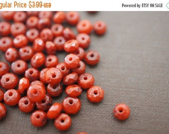 APRIL SALE Faceted Burnt Orange Red Belgium Coral Round Flat Spacer Beads - 4mm x 2mm - 30 pcs