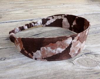 Fabric Headband with Elastic: Brown Batik
