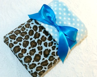 CLEARANCE SALE - NOW just 20 dollars - Ready to Ship - Minky Baby Blanket - Blue Cheetah with Blue Polka Dot Minky - Crib Size