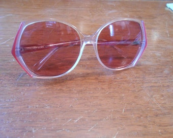 Vintage  1980s Joan Collins Radiant Designer Sunglasses Clear + Pink Plastic Glasses, with bifocal readers