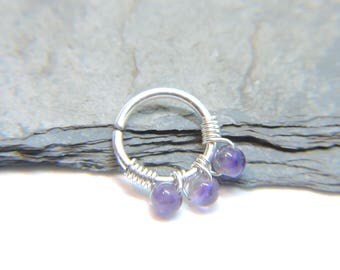 """Nose Ring - Seamless Hoop AMETHYST Nose or Ear Jewelry - 18G 16G 14G - 5/16"""" 3/8"""" - Sterling Silver 14K Rose or Yellow Gold Fill Septum Ring"""