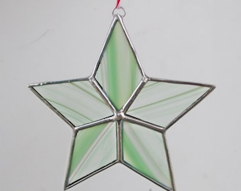 Green Striped Star Stained Glass Ornament for Christmas Holidays or Home Decor