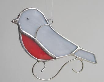 Robin Stained Glass Bird Home Decor Suncatcher