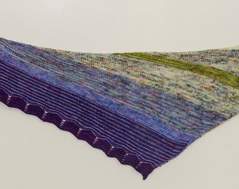 Hand knit Shawl, Cashmere, Cormo, Merino, Silk green, purple, gold, blue