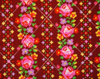 Vintage Burgundy and Pink Roses Stripe Fabric