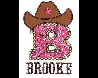 Custom Personalized Applique COWBOY HAT INITIAL and Name Bodysuit or Shirt - Hot Pink Bandana, Brown, and Tan