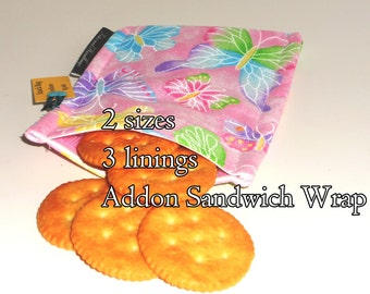 Glitter Pink Butterflies Snack Bag and Sandwich Bag /Eco-Friendly / Back to School / Washable / 2 size / Choice of Lining / Storage