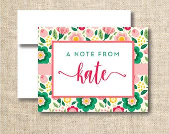 Personalized note cards / stationery - Set of 10 or 15