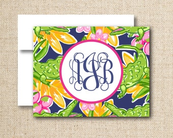 Monogrammed note cards / stationery - Set of 10 or 15