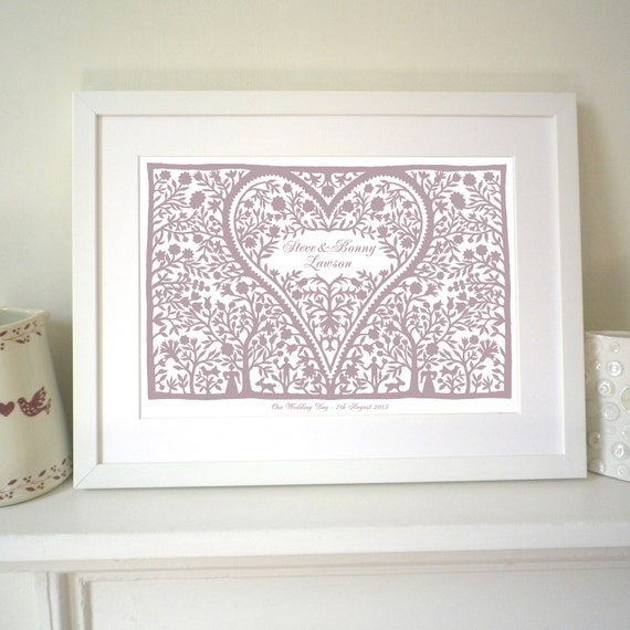 Personalised love heart print to record an anniversary, wedding, birth date, christening, mother's day or valentine.