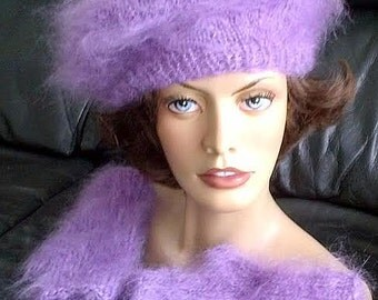 Hairy Luxury Mohair sweater TAM BERET and fingerless Mitten Set in Lavender by uniquemohair