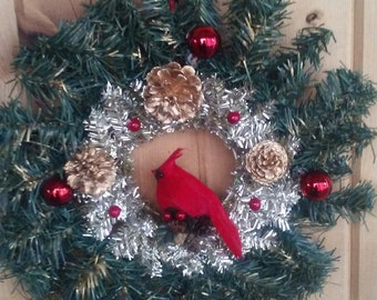 Wreath, Christmas, Winter, Cardinal, country style