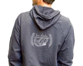 Mens Sloth Sweatshirt American Apparel California Fleece Pocket Pullover Hoodie - XS, Small, Medium, Large, Extra Large, 2XL