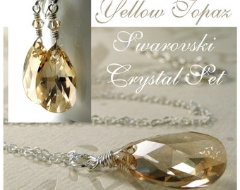 Light Yellow Topaz Crystal Jewelry Set, Champagne Swarovski Teardrop, Sterling Silver, Necklace, Earrings, Canary Bridesmaid Handmade Gift