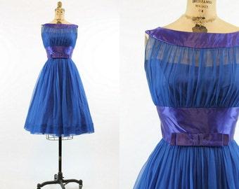 50s Dress Silk Chiffon XS / 1950s Vintage Dress Illusion Neckline  / Be Mine Dress