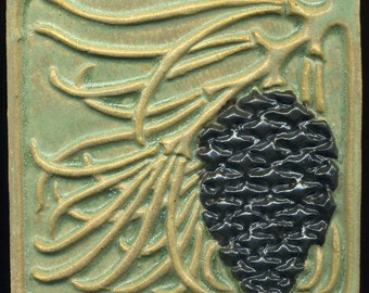 """Craftsman style Green Pine Cone Tile  5"""" square - Arts and Crafts style Handmade Decorative Tile"""