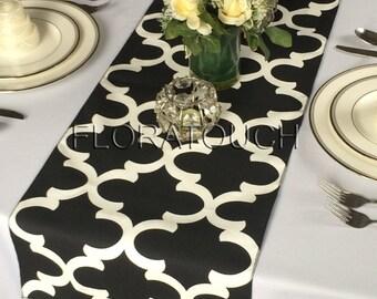 Fynn Black and White Damask Table Runner Moroccan Quatrefoil Lattice Wedding Table Runner