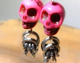 Casual Silver Pink Chainmaille Skull Dangle Earrings Chain Mail