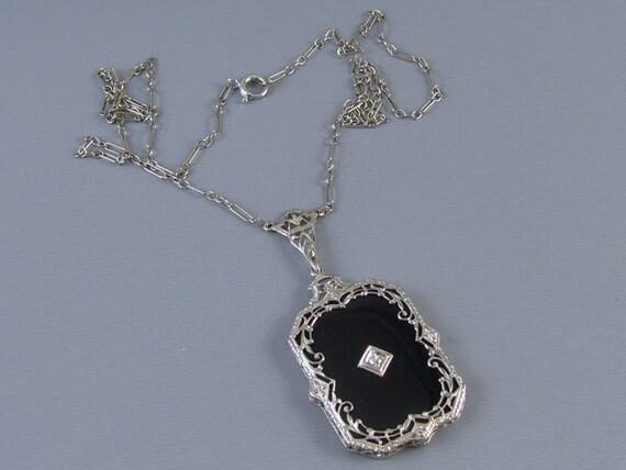 Vintage Art Deco 14k white gold filigree black onyx and diamond pendant necklace with original chain / 1920s