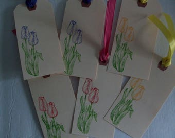 6 Tulips Gift Tags, Handmade Floral Gift Tags, Tulips Tags, Purple,Yellow, and Red Tulips Tags, Springtime Gift Tags,