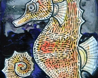 Original Seahorse Miniature Art Painting by Lynnette Shelley