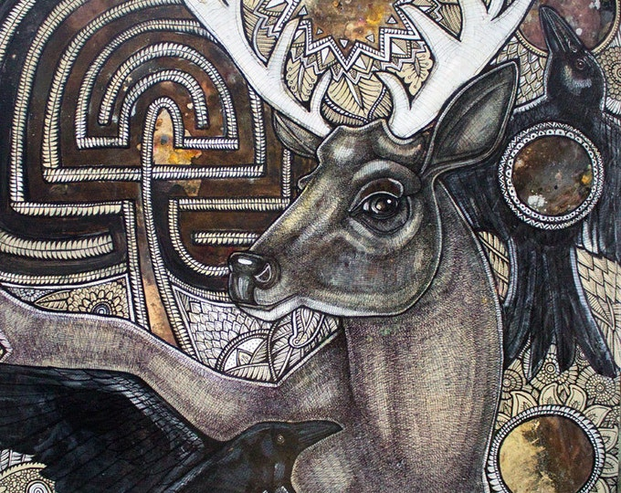 Original Stag and Labyrinth Painting / Contemporary Art by Lynnette Shelley