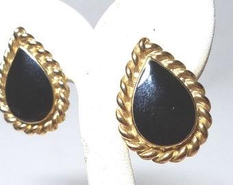 Black Enamel with Gold Tone Rope Trim  Pear Shape Vintage Pierced Earrings