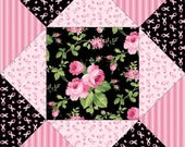 Dollhouse Miniature Small Scale Computer Printed Mauve and Black Patchwork Quilt Floral Fabric