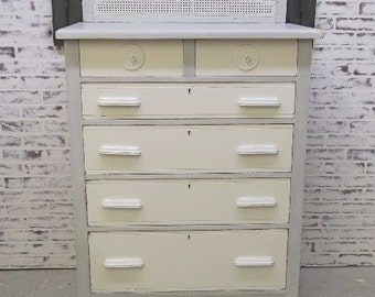 Chest of Drawers, Distressed White & Grey Cottage Style - DR908 Shabby Farmhouse Chic