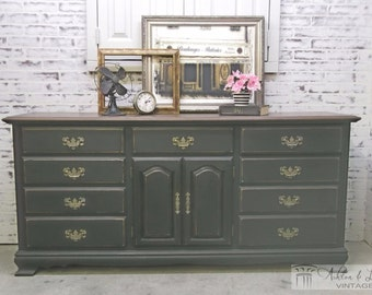 Triple Dresser, Distressed Black Cottage Style -DR203- Shabby Vintage Farmhouse Chic, French Country